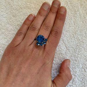 Costume blue gemstone round ring